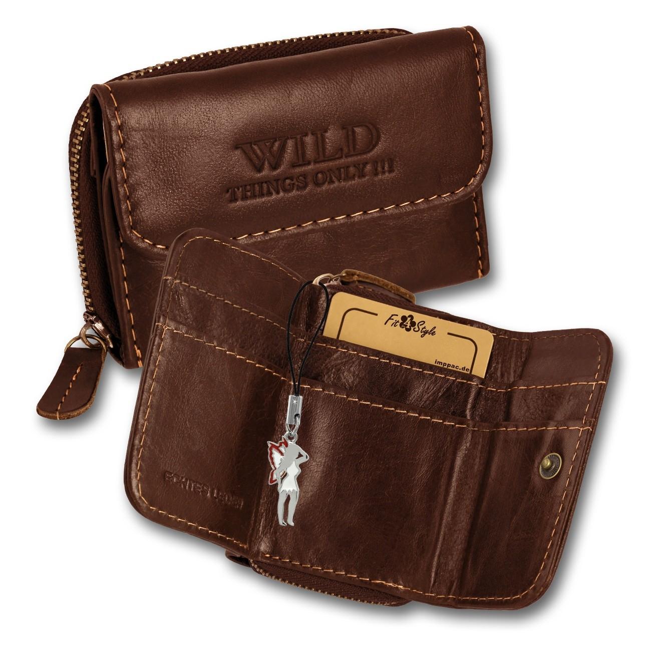 Geldbörse Leder braun kleines Portemonnaie Minibörse Wild Things Only OPJ120N