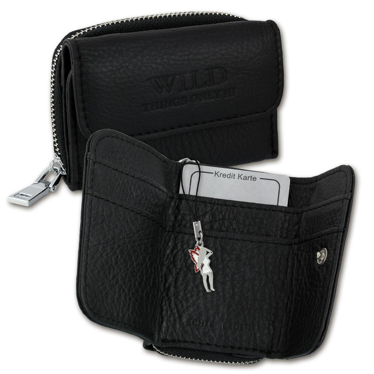 Geldbörse Leder schwarz kleines Portemonnaie Minibörse Wild Things Only OPJ120S