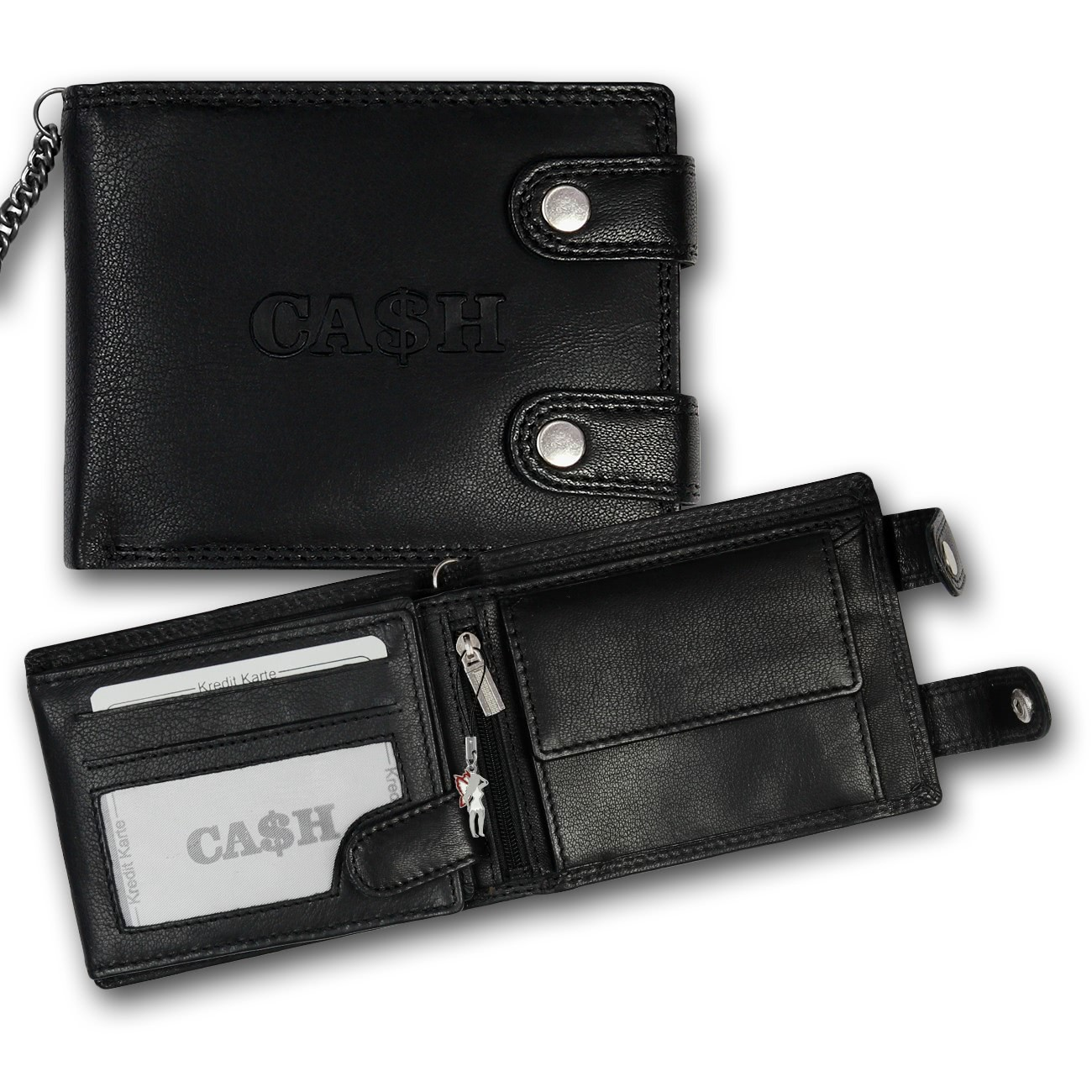 Portemonnaie quer Leder schwarz Herren Geldbörse Brieftasche Imppac OPJ124S