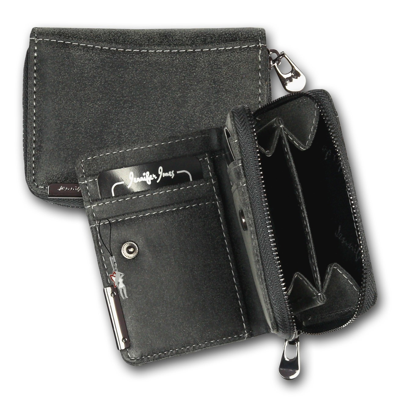 Minibörse Kunstleder schwarz Damen Geldbörse Portemonnaie Jennifer Jones OPJ126S