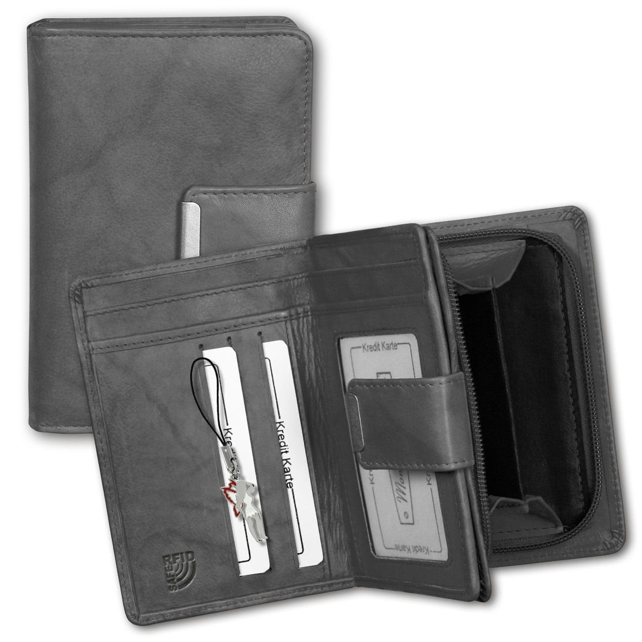Geldbörse Leder grau Brieftasche Portemonnaie Hochformat Money Maker OPJ701K