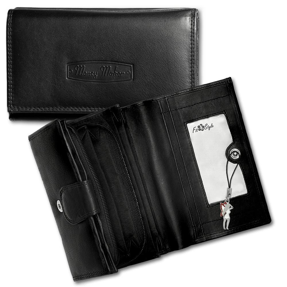Geldbörse schwarz Echtleder, glatt Damen Portemonnaie Money Maker OPJ702S