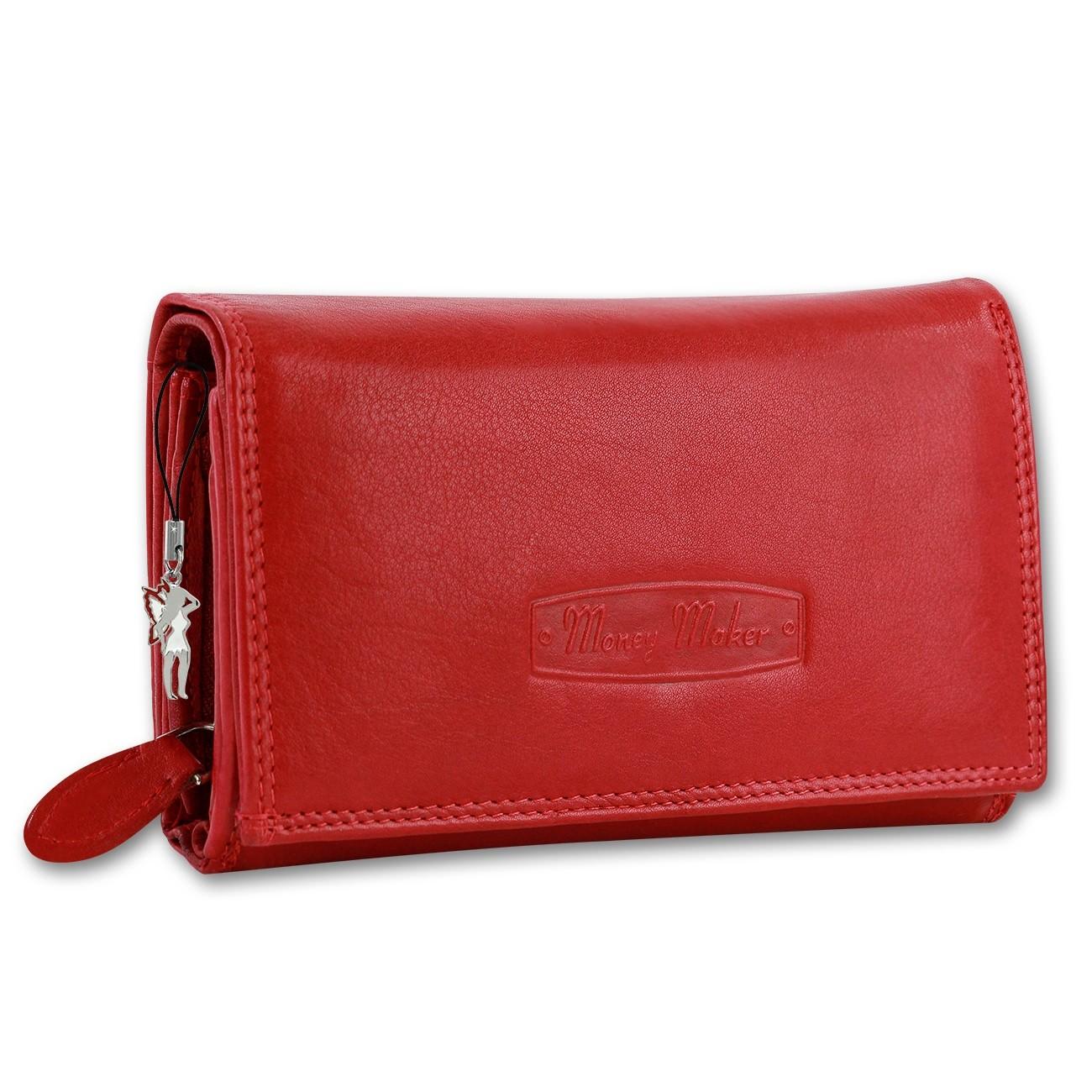 bb15638b2d286 Geldbörse Leder rot Damen Portemonnaie Kellnerbörse Money Maker OPJ704R