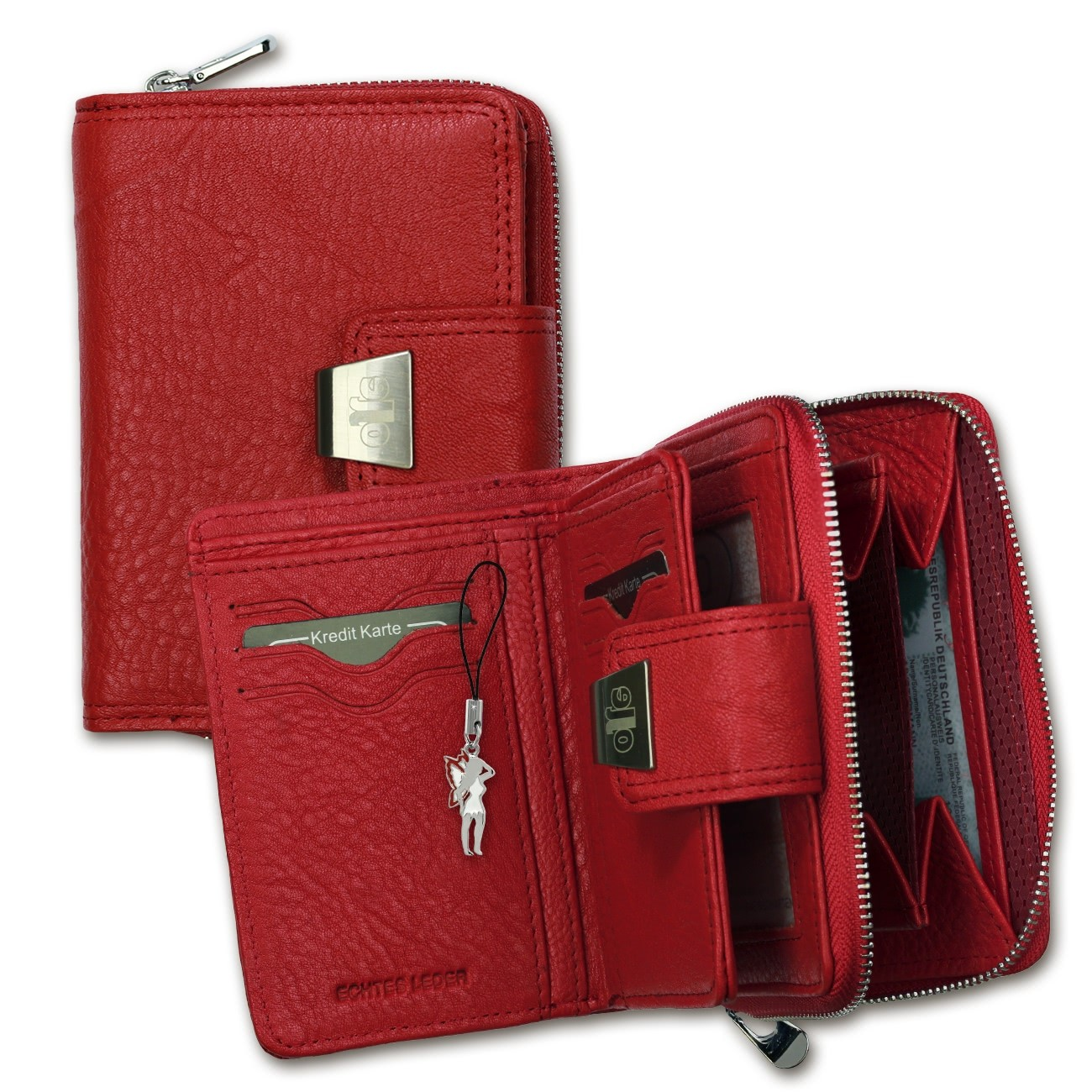 Geldbörse Leder rot Portemonnaie Hochformat Jennifer Jones OPJ708R