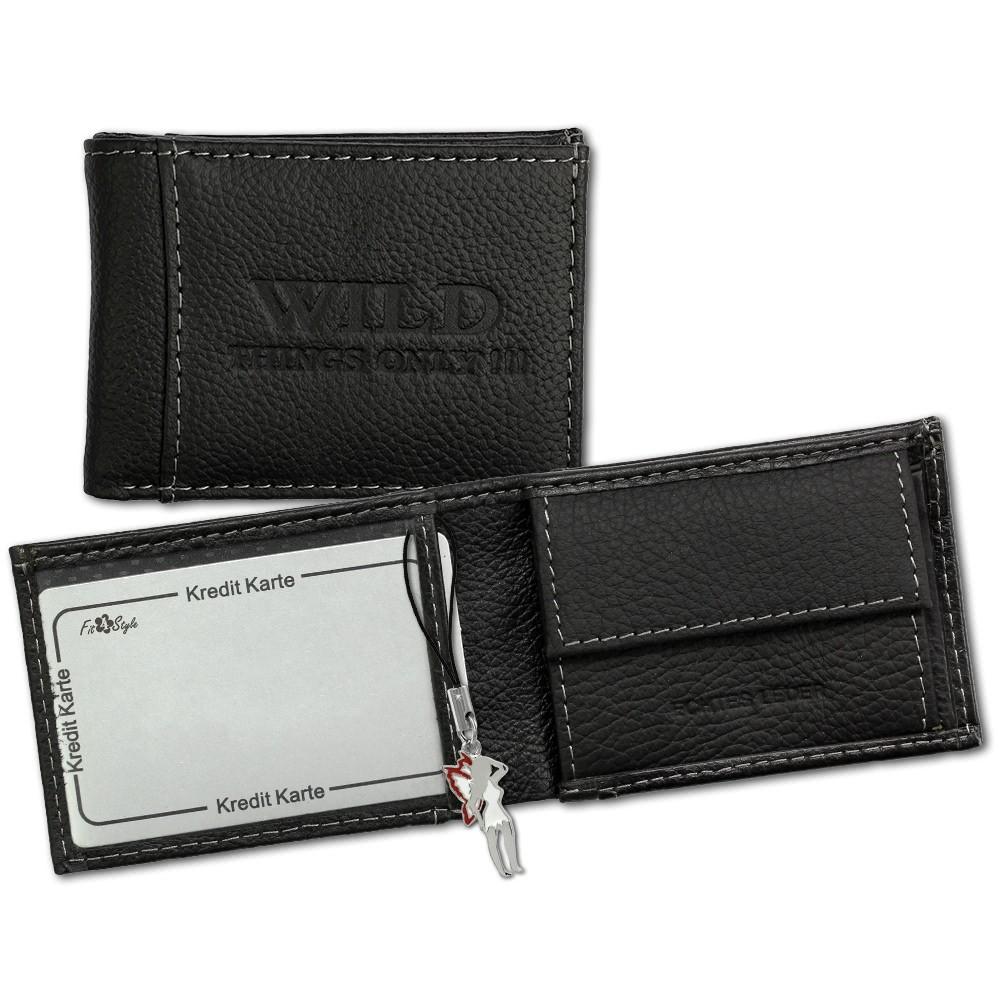 Geldbörse Leder schwarz Portemonnaie Minibörse WildThingsOnly OPJ800S