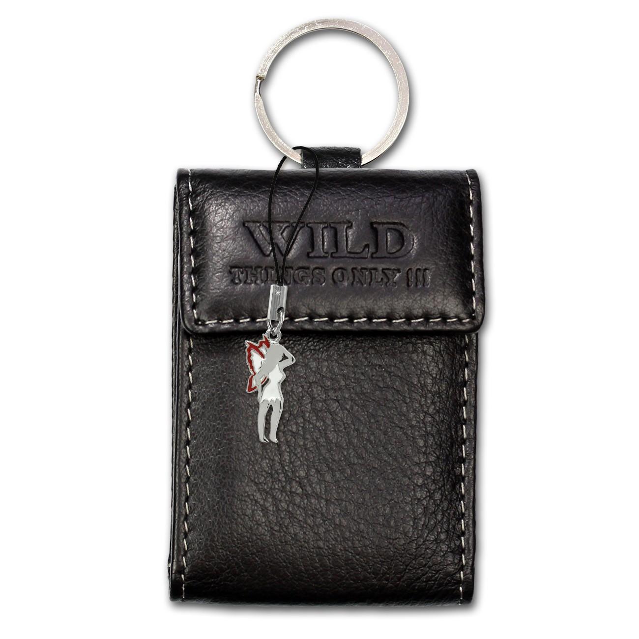 Etui, Geldbörse Leder schwarz Minibörse Schlüsseltasche WildThingsOnly OPJ904S