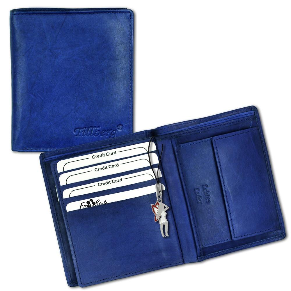 SilberDream Leder Geldbörse blau hoch unisex Portemonnaie OPR100B