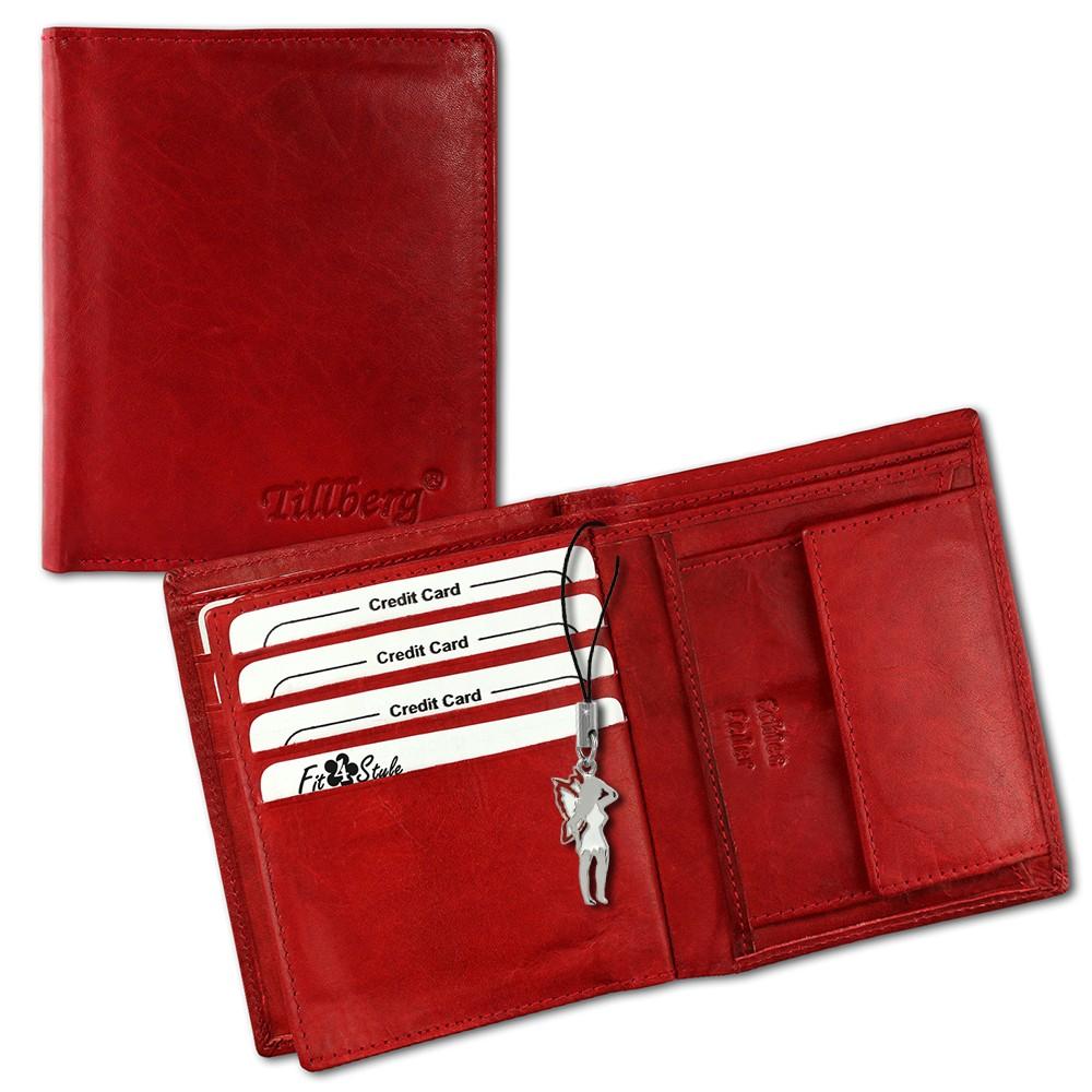 SilberDream Leder Geldbörse rot hoch unisex Portemonnaie OPR100R