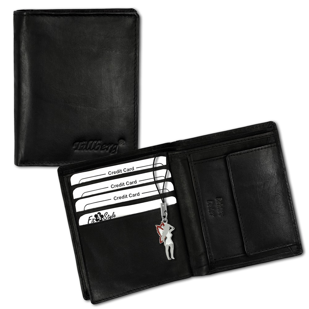 SilberDream Leder Geldbörse schwarz hoch unisex Portemonnaie OPR100S