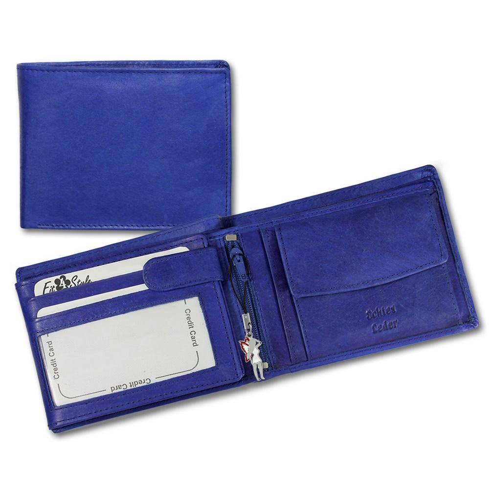 SilberDream Leder Geldbörse blau Querformat unisex Portemonnaie OPR101B