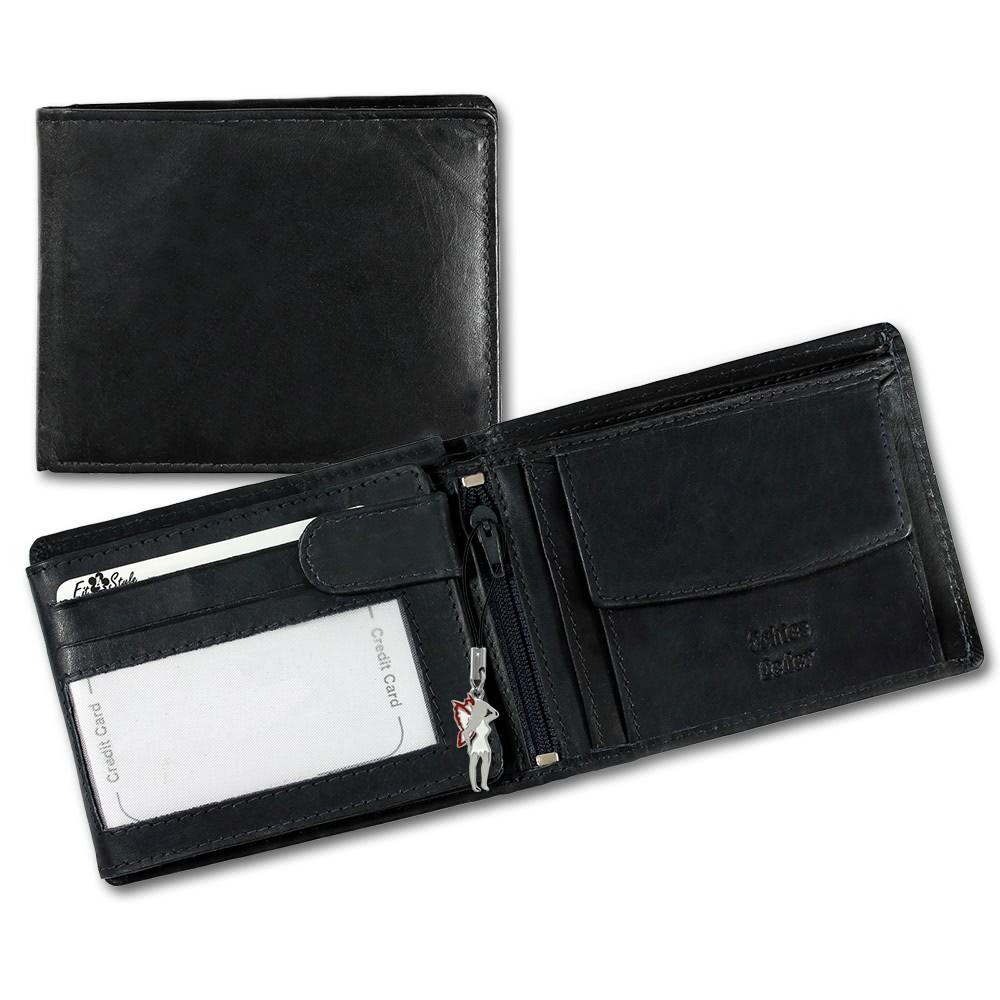 SilberDream Leder Geldbörse schwarz Querformat unisex Portemonnaie OPR101S