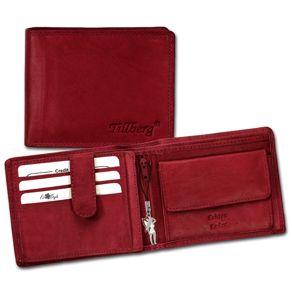 SilberDream Geldbörse rot Echtleder, glatt-Portemonnaie OPR105R
