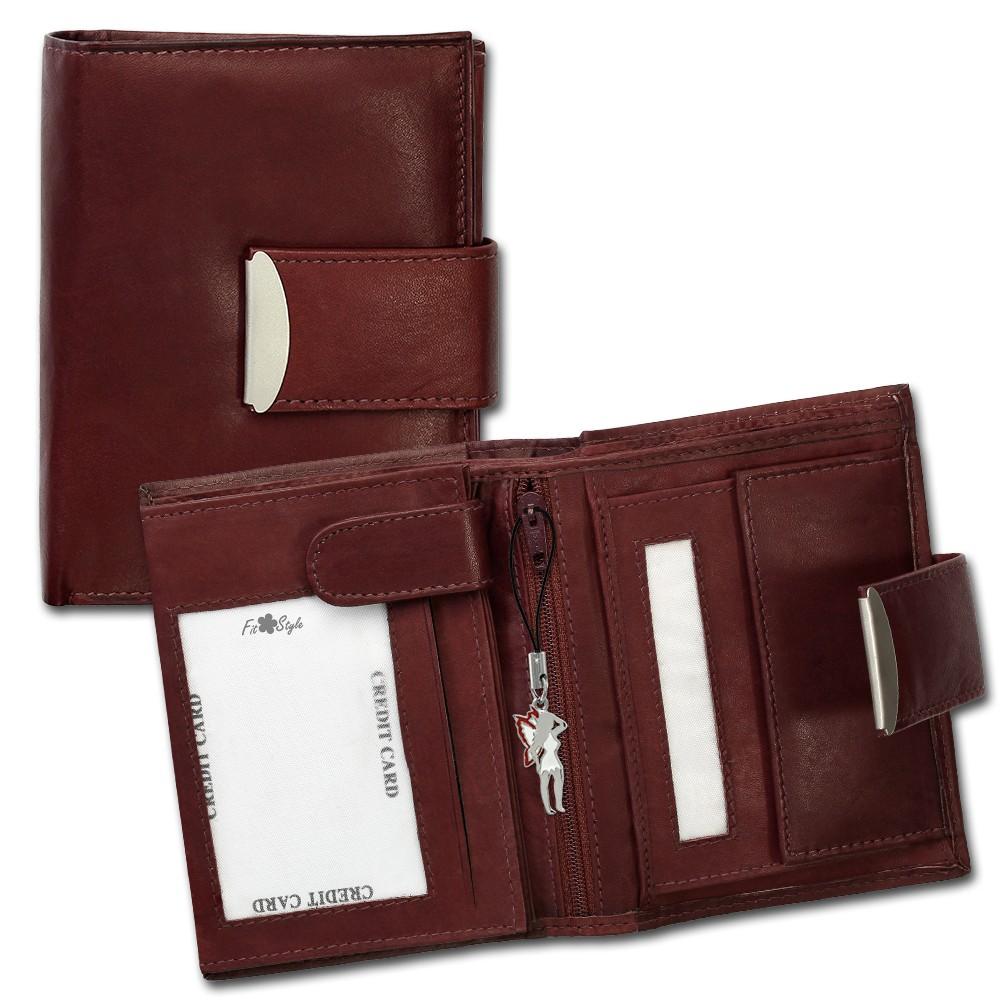 SilberDream Geldbörse dunkelrot Echtleder, glatt-Portemonnaie OPR107D