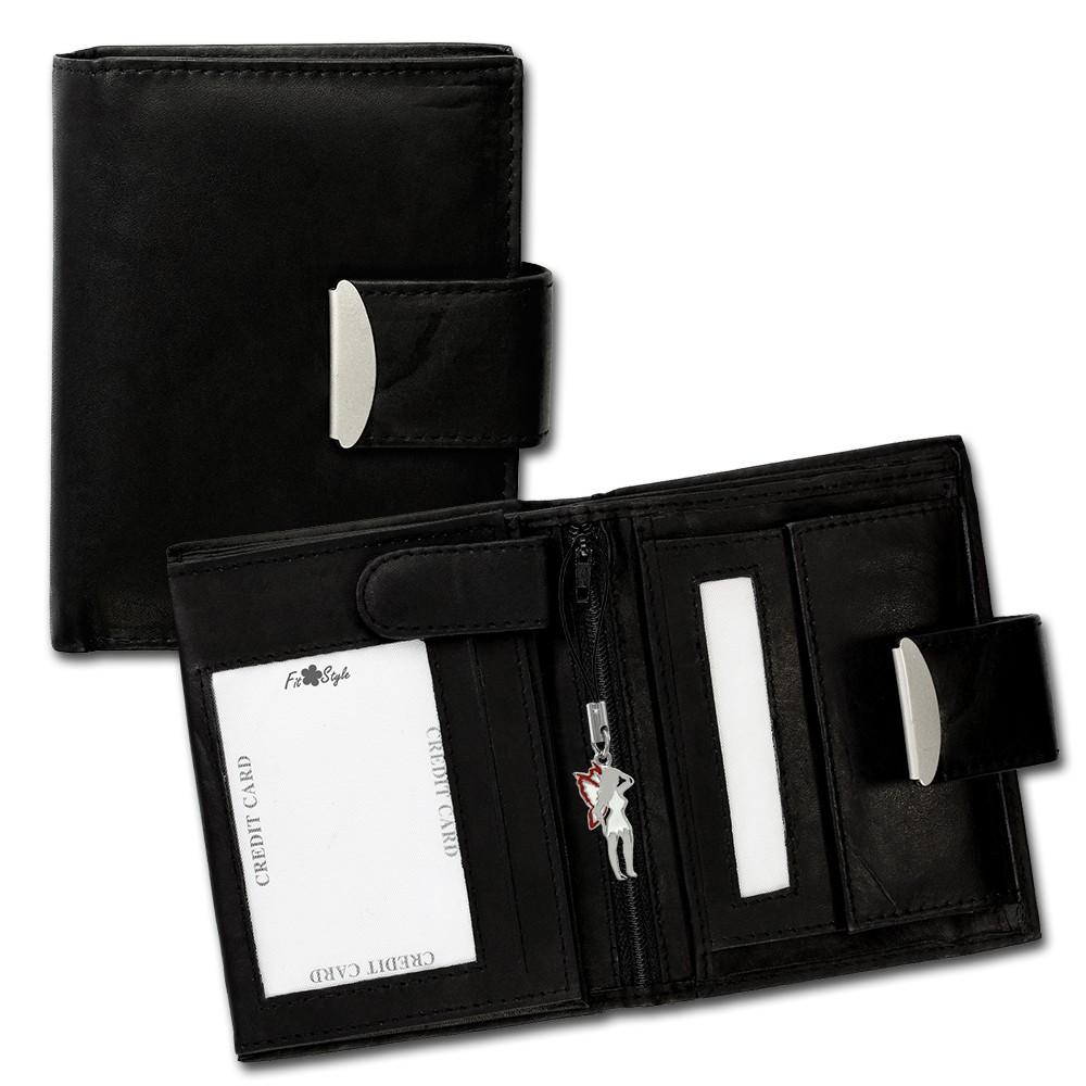 SilberDream Geldbörse schwarz Echtleder, glatt-Portemonnaie OPR107S
