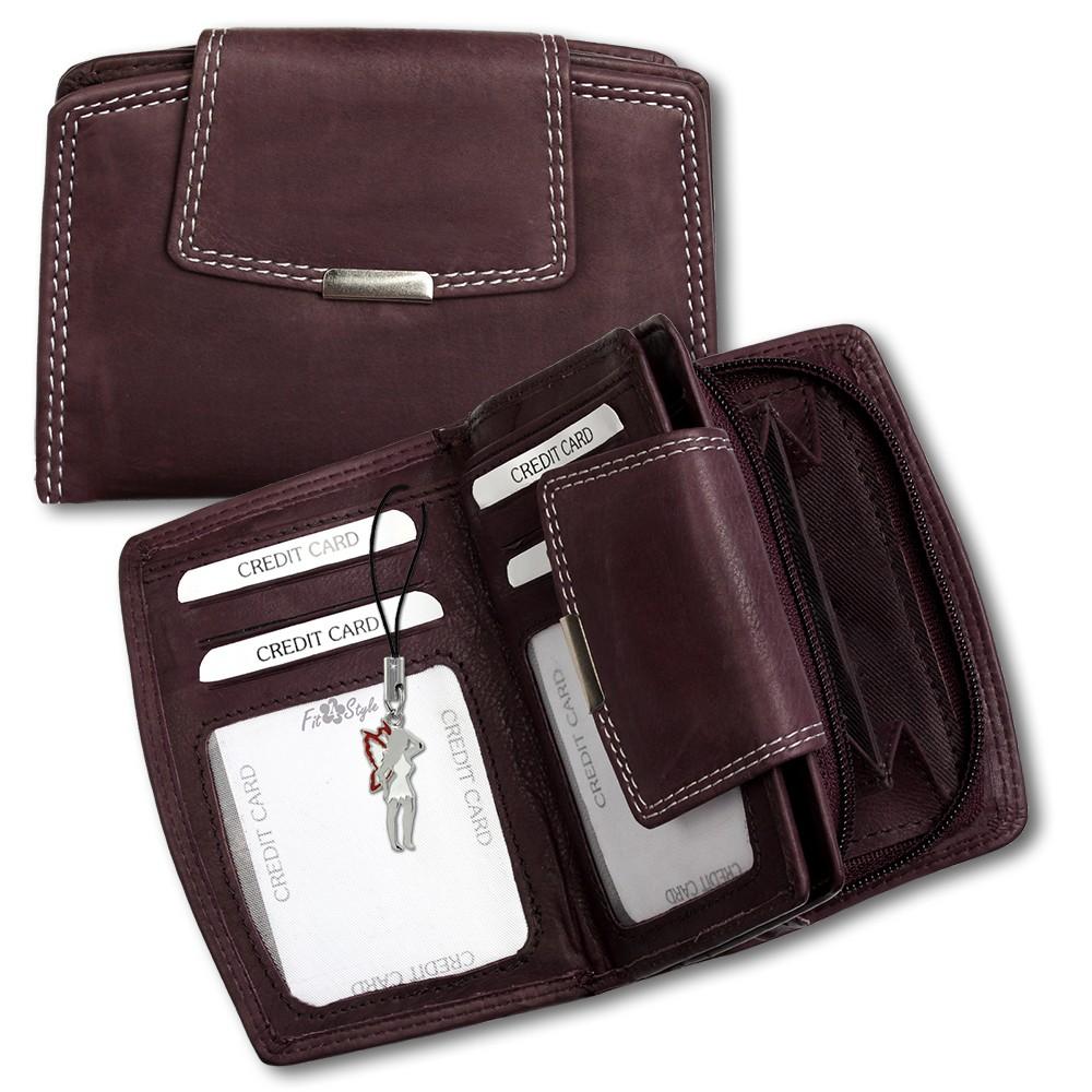 SilberDream Geldbörse dunkelrot Echtleder, glatt-Portemonnaie OPR701D
