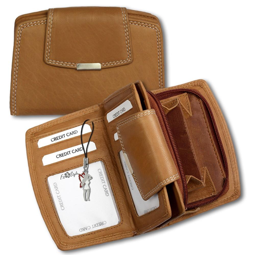 SilberDream Geldbörse cognac Echtleder, glatt-Portemonnaie OPR701O