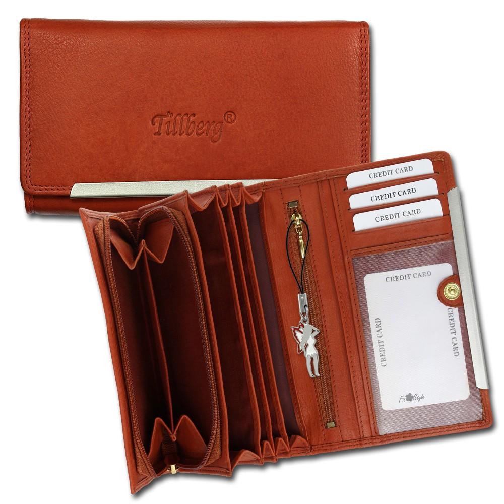 SilberDream Geldbörse cognac Echtleder, glatt-Portemonnaie OPR702O