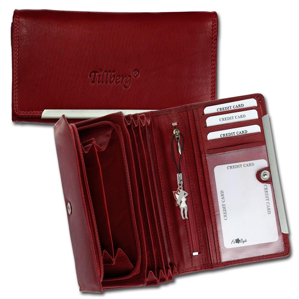 SilberDream Geldbörse rot Echtleder, glatt-Portemonnaie OPR702R