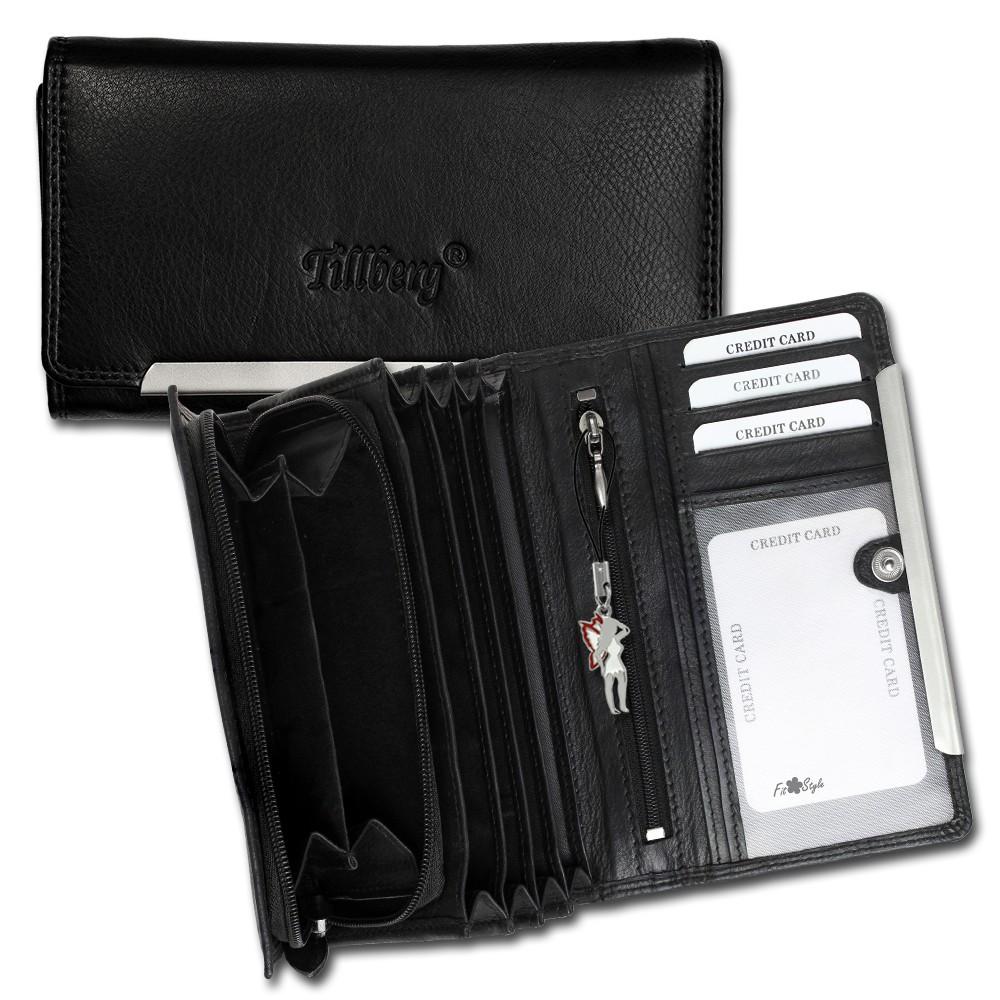 SilberDream Geldbörse schwarz Echtleder, glatt-Portemonnaie OPR702S
