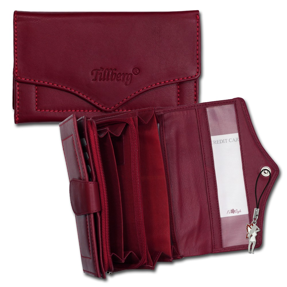 SilberDream Geldbörse rot Echtleder, glatt-Portemonnaie OPR703R