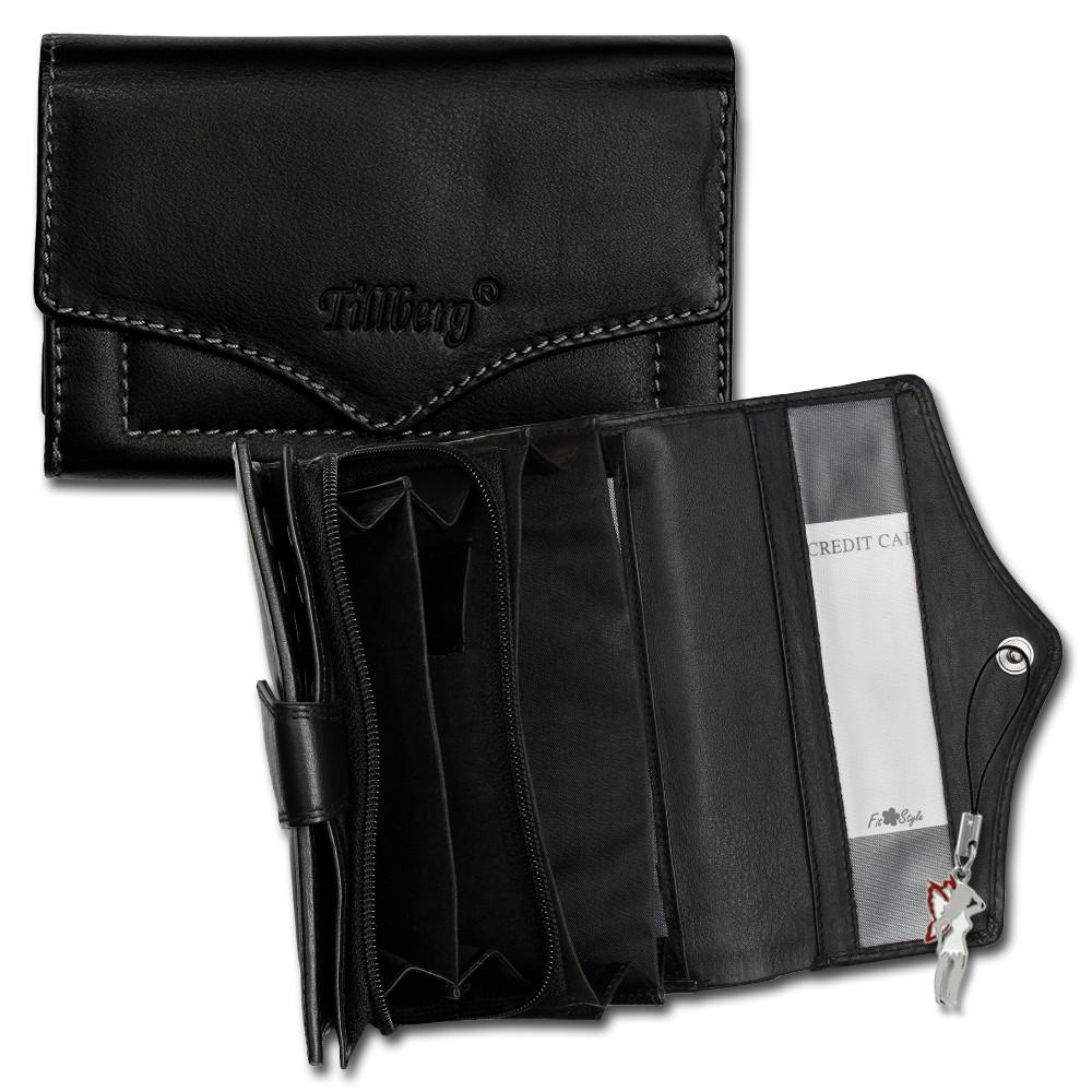 SilberDream Geldbörse schwarz Echtleder, glatt-Portemonnaie OPR703S