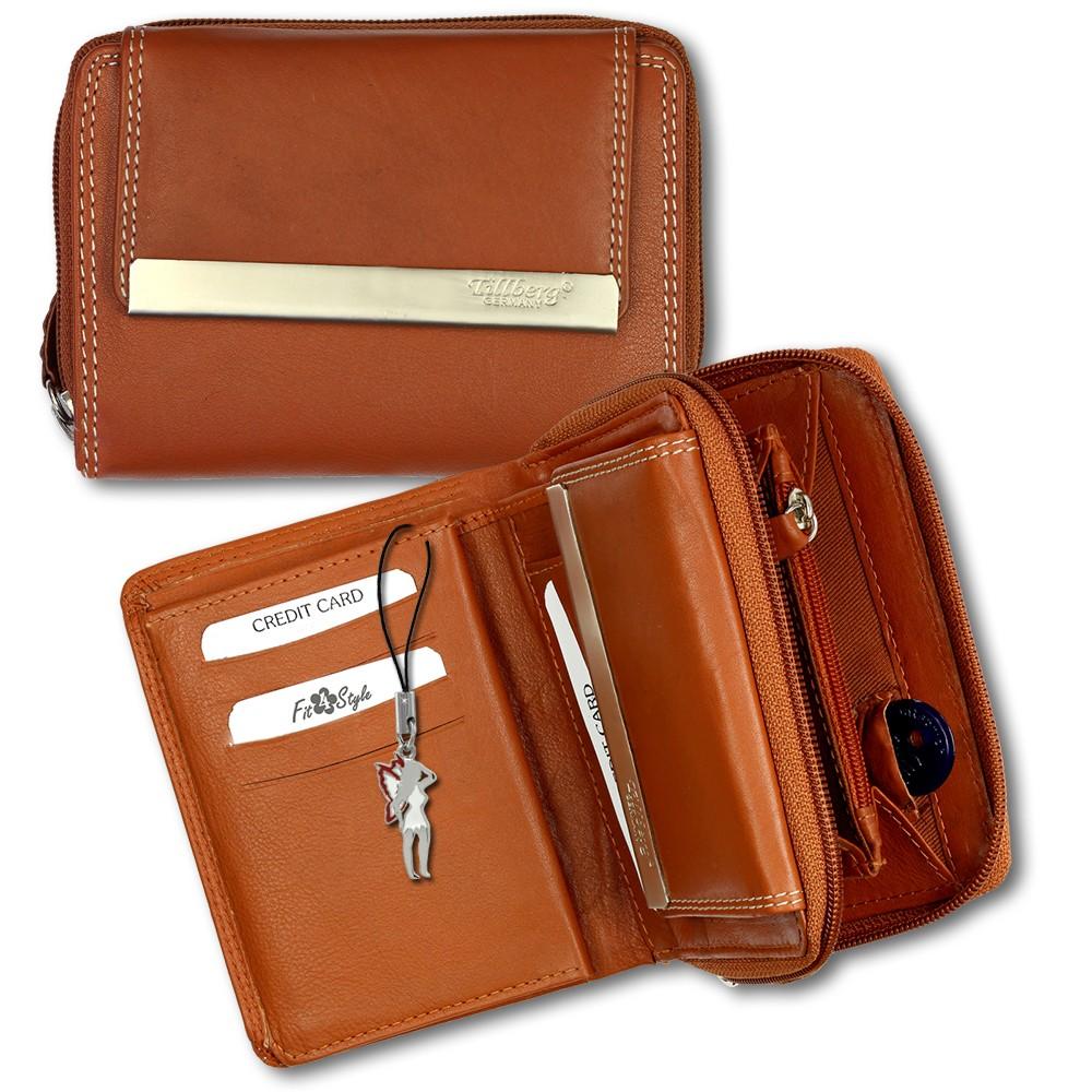 SilberDream Geldbörse cognac Echtleder, glatt-Portemonnaie OPR704O