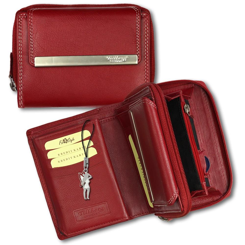 SilberDream Geldbörse rot Echtleder, glatt-Portemonnaie OPR704R
