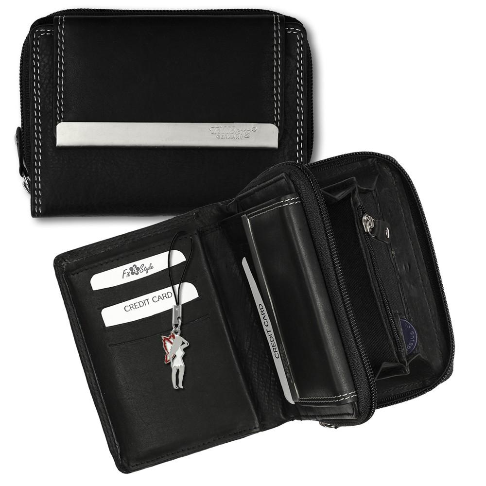 SilberDream Geldbörse schwarz Echtleder, glatt-Portemonnaie OPR704S