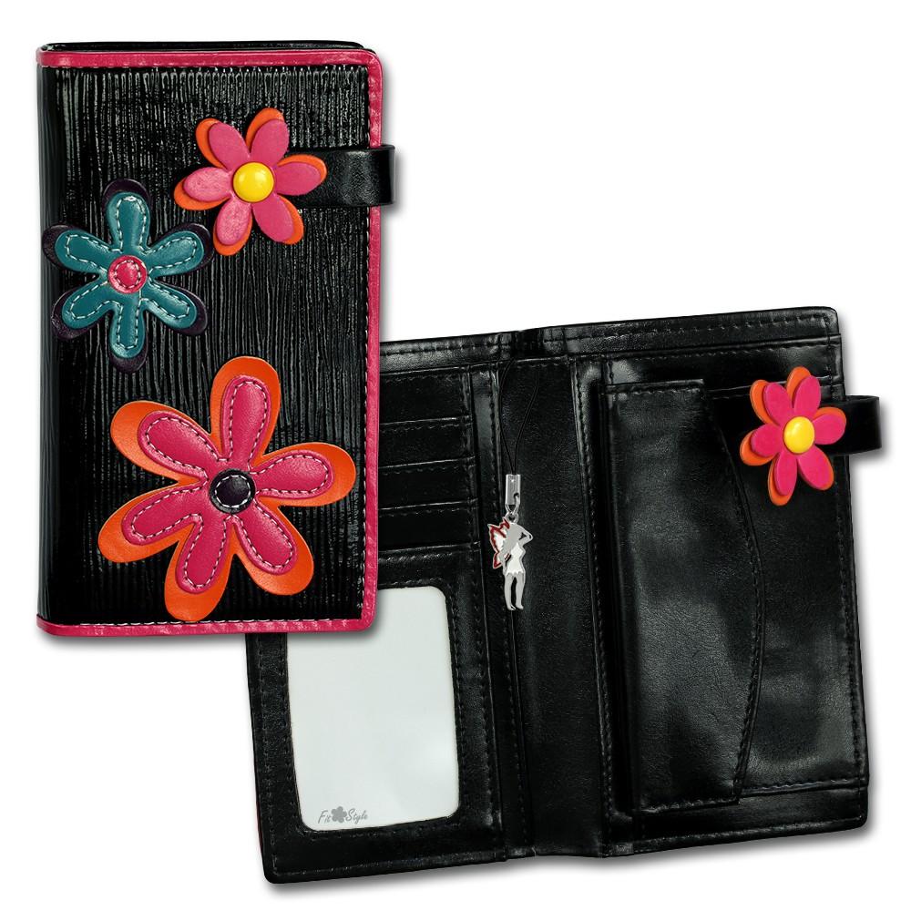 SilberDream Geldbörse schwarz Kunstleder, glatt-Portemonnaie OPR706S