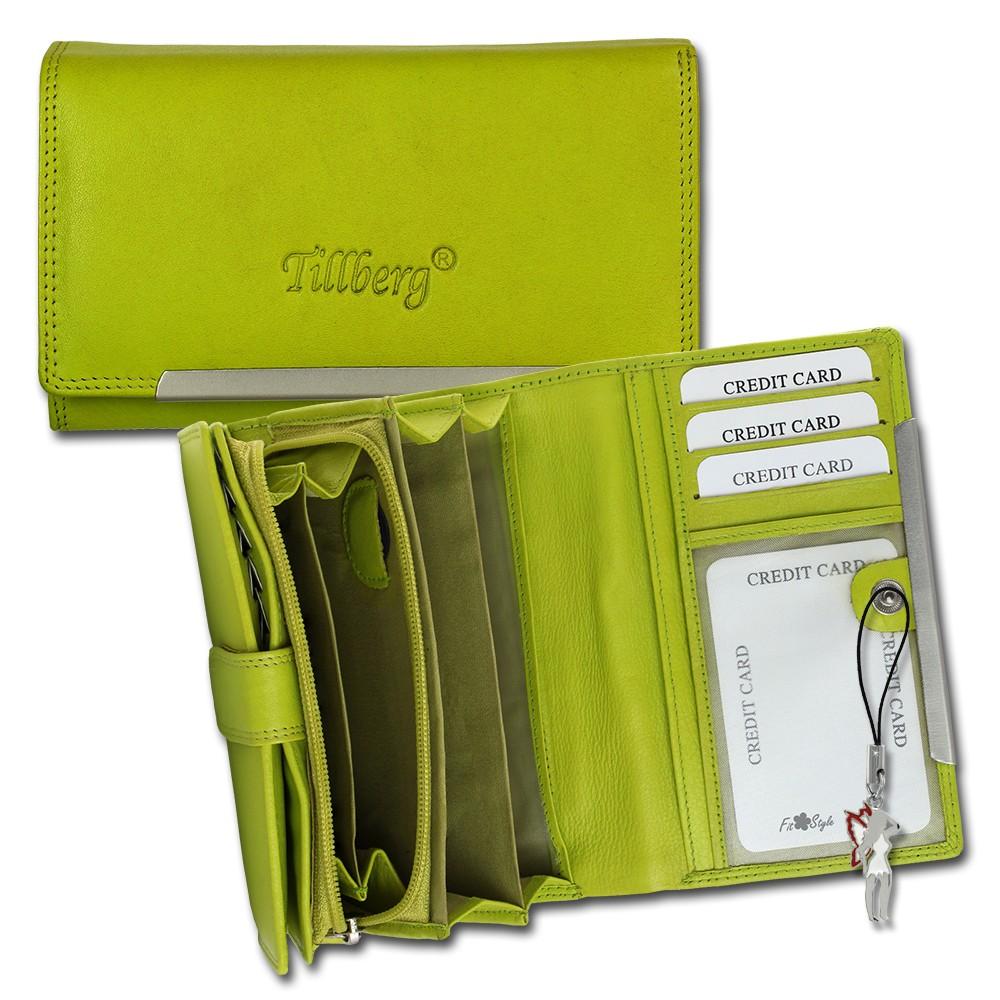 SilberDream Geldbörse grün Echtleder, glatt-Portemonnaie OPR707L