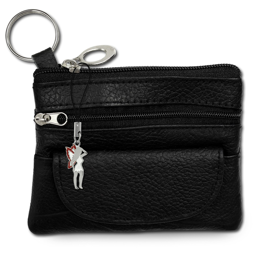 SilberDream Geldbörse schwarz Echtleder, glatt-Portemonnaie OPR800S