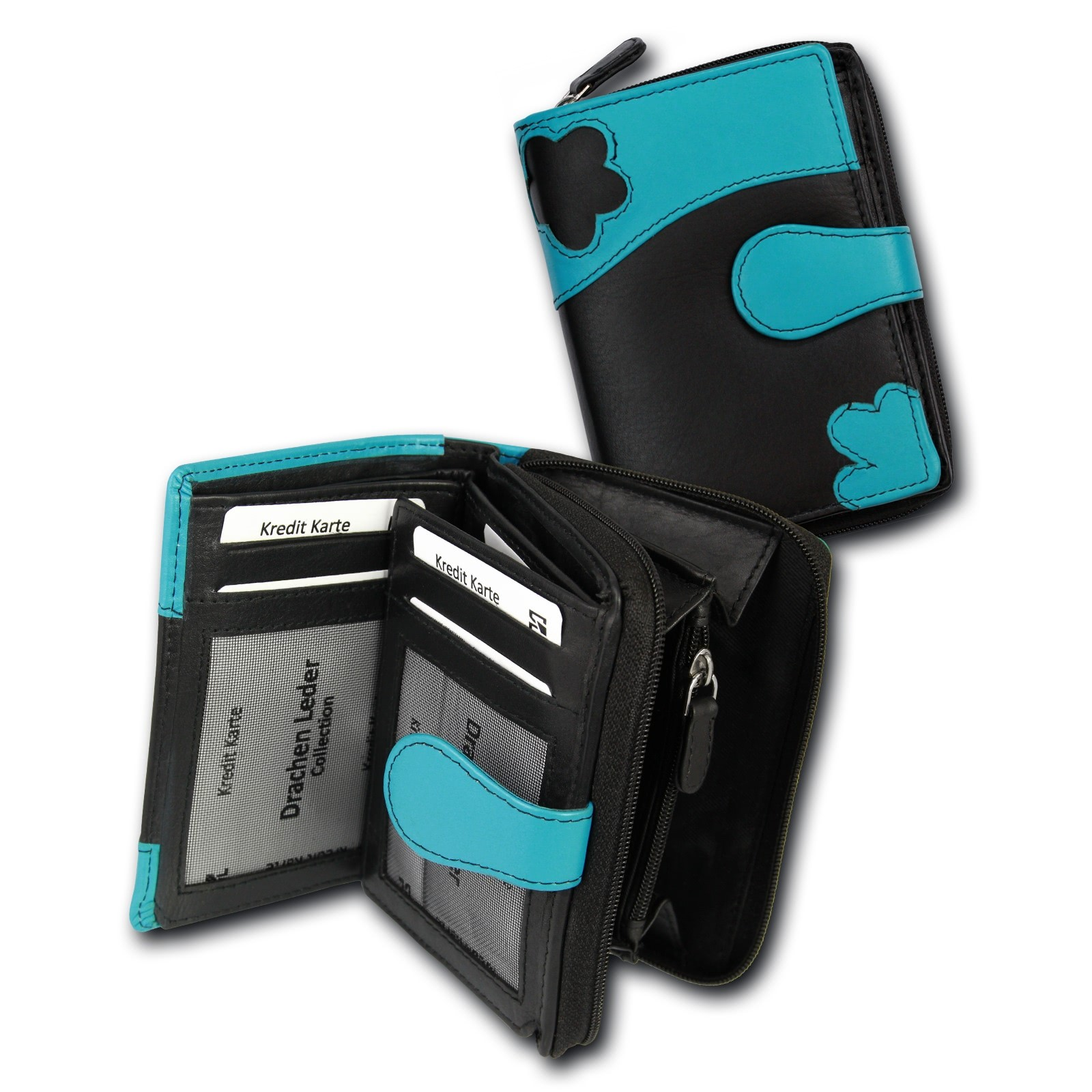 Portemonnaie Hochformat Leder schwarz, türkis Geldbörse DrachenLeder OPS103S