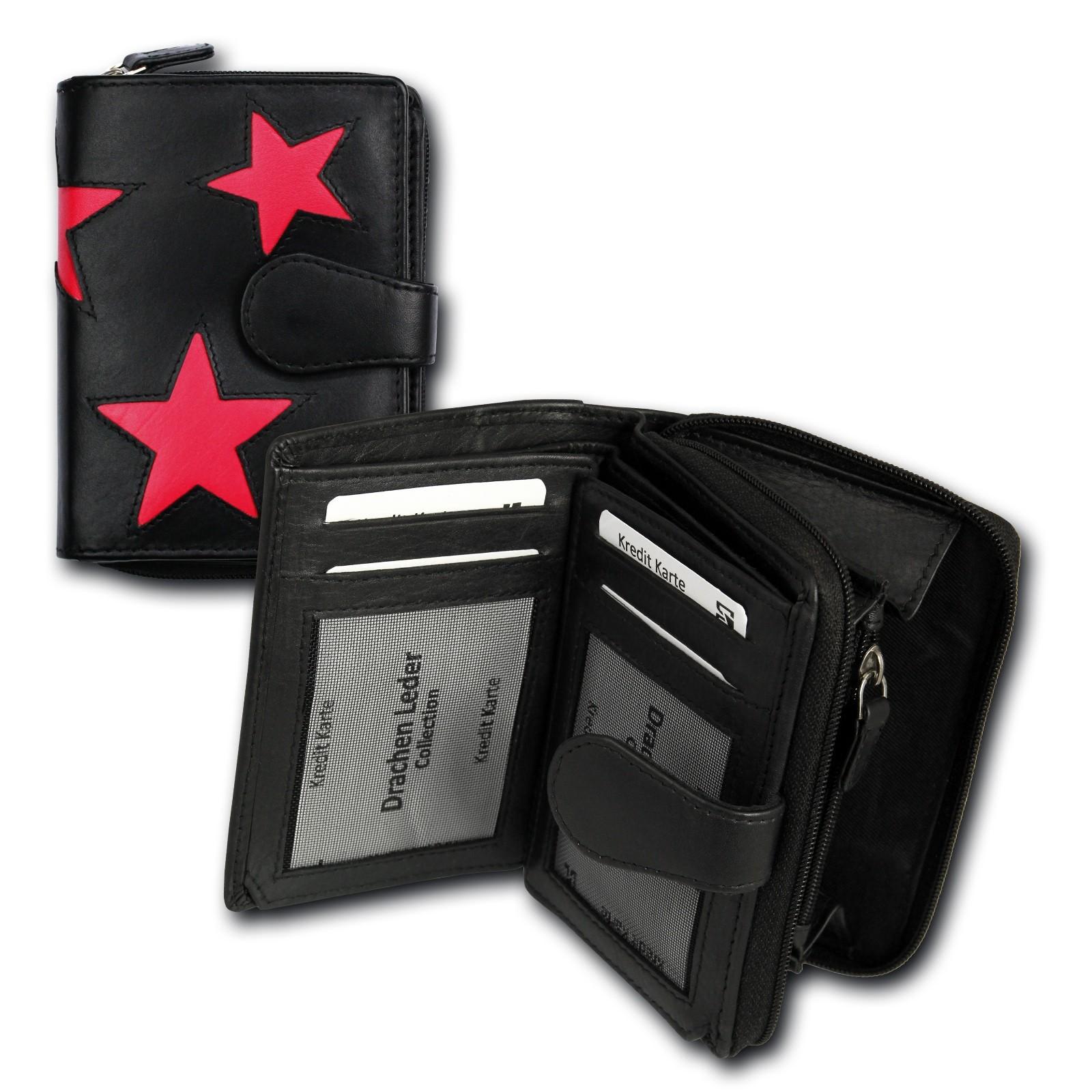 Portemonnaie Hochformat Leder schwarz, pink Damen Geldbörse DrachenLeder OPS104P