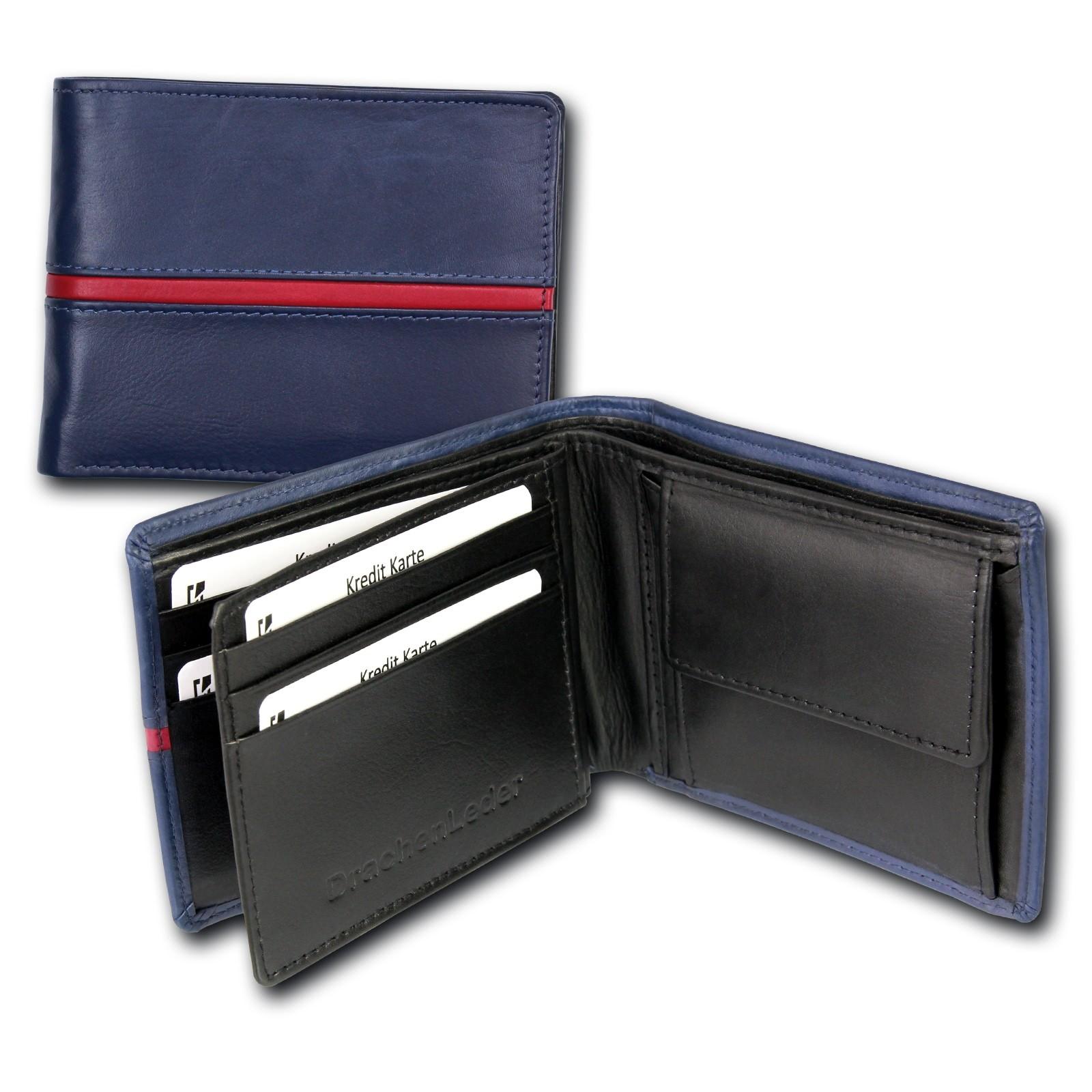 Portemonnaie Querformat Leder blau Geldbörse Brieftasche DrachenLeder OPS105B