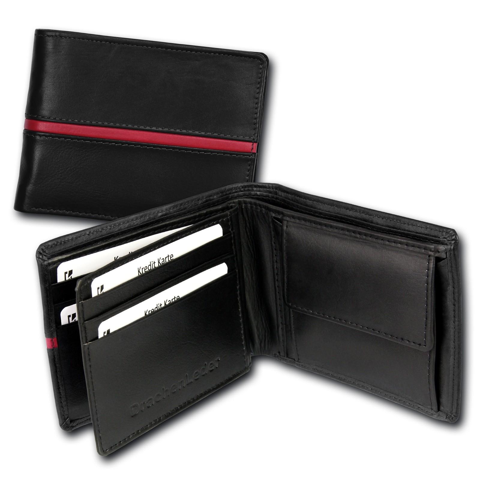 Portemonnaie Querformat Leder schwarz Geldbörse Brieftasche DrachenLeder OPS105S