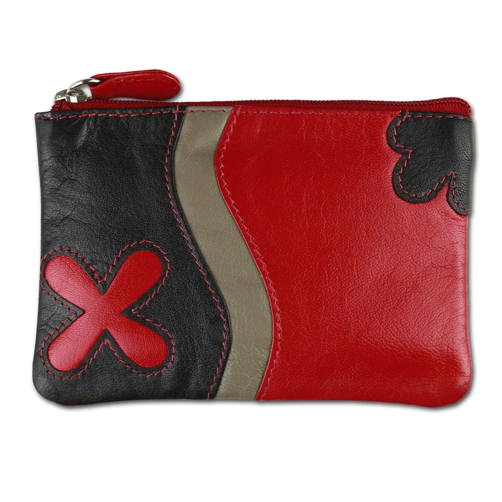 Schlüsseltasche Leder rot Schlüsseletui Geldbörse DrachenLeder OPS901R