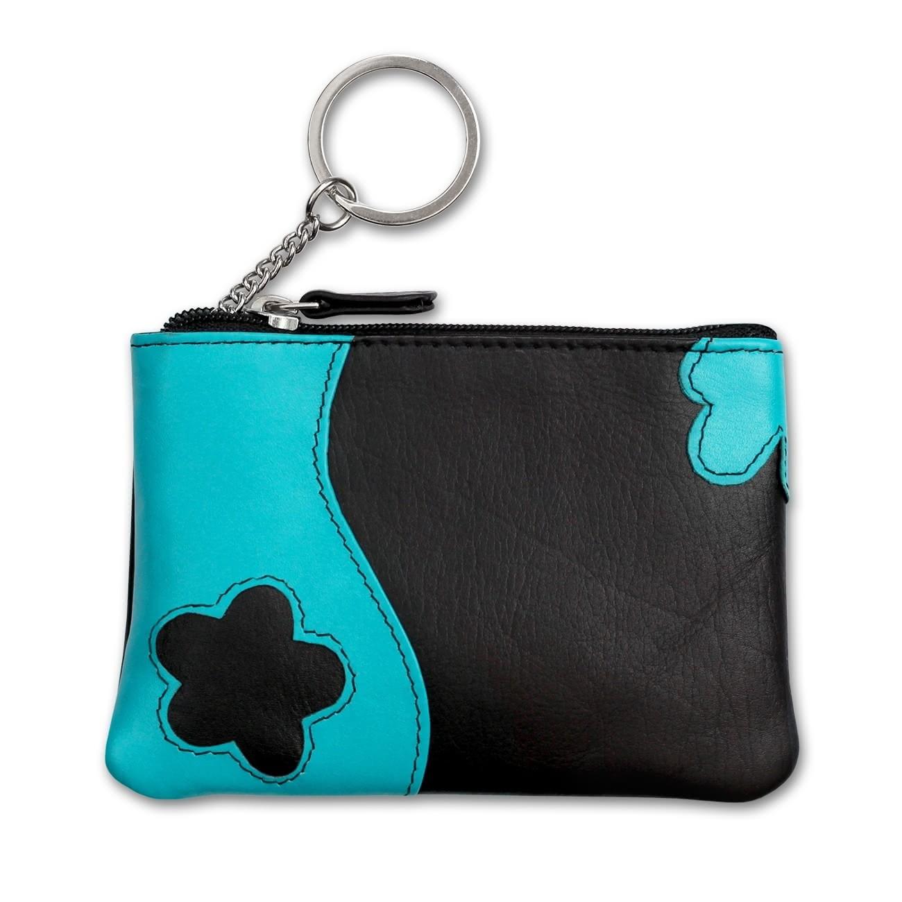 Schlüsseltasche Leder schwarz, türkis Schlüsseletui DrachenLeder OPS903S