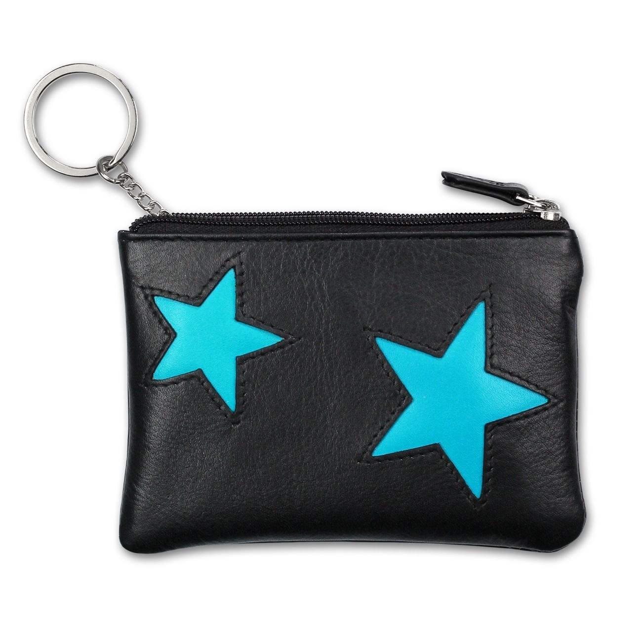 Schlüsseltasche Leder schwarz, türkis Schlüsseletui DrachenLeder OPS904T