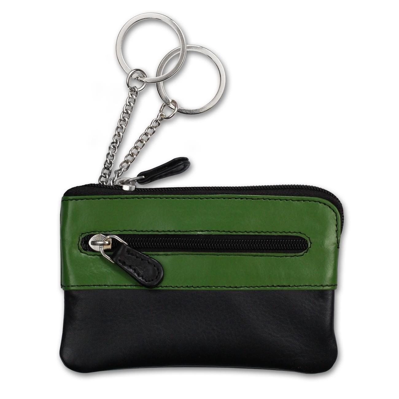 Schlüsseltasche Leder schwarz, grün Schlüsseletui Minibörse DrachenLeder OPS905G