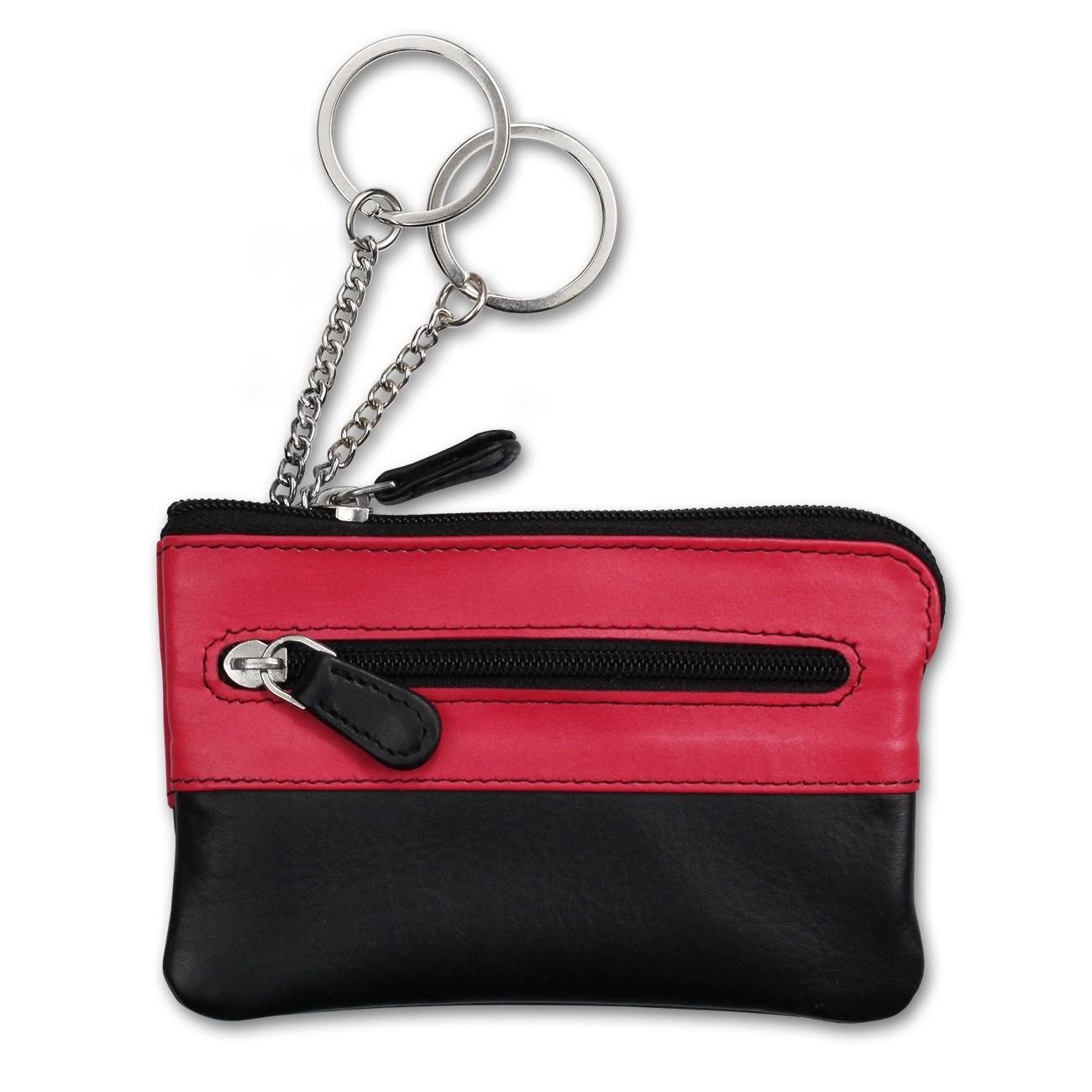 Schlüsseltasche Leder schwarz, pink Schlüsseletui Minibörse DrachenLeder OPS905P