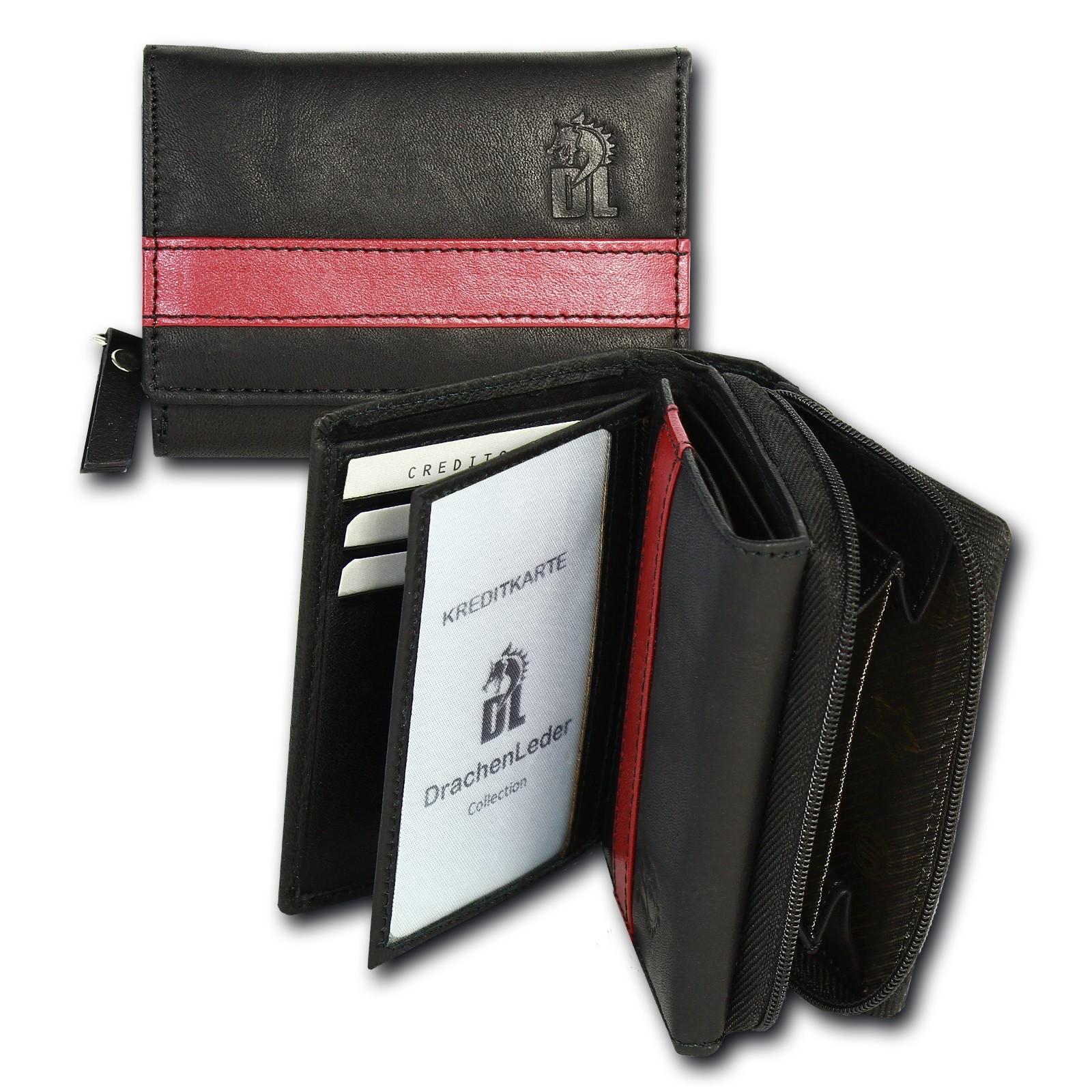 Geldbörse Leder schwarz Geldbeutel Portemonnaie Brieftasche DrachenLeder OPZ100S