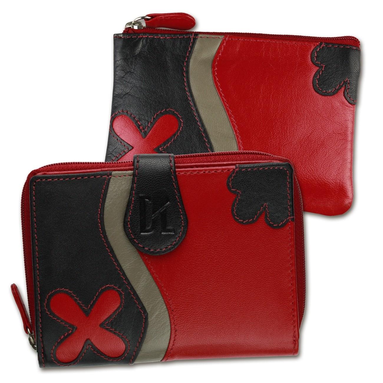 Geldbörse + Schlüsseletui Set Leder rot DrachenLeder Geschenkset 2tlg. OSS100R