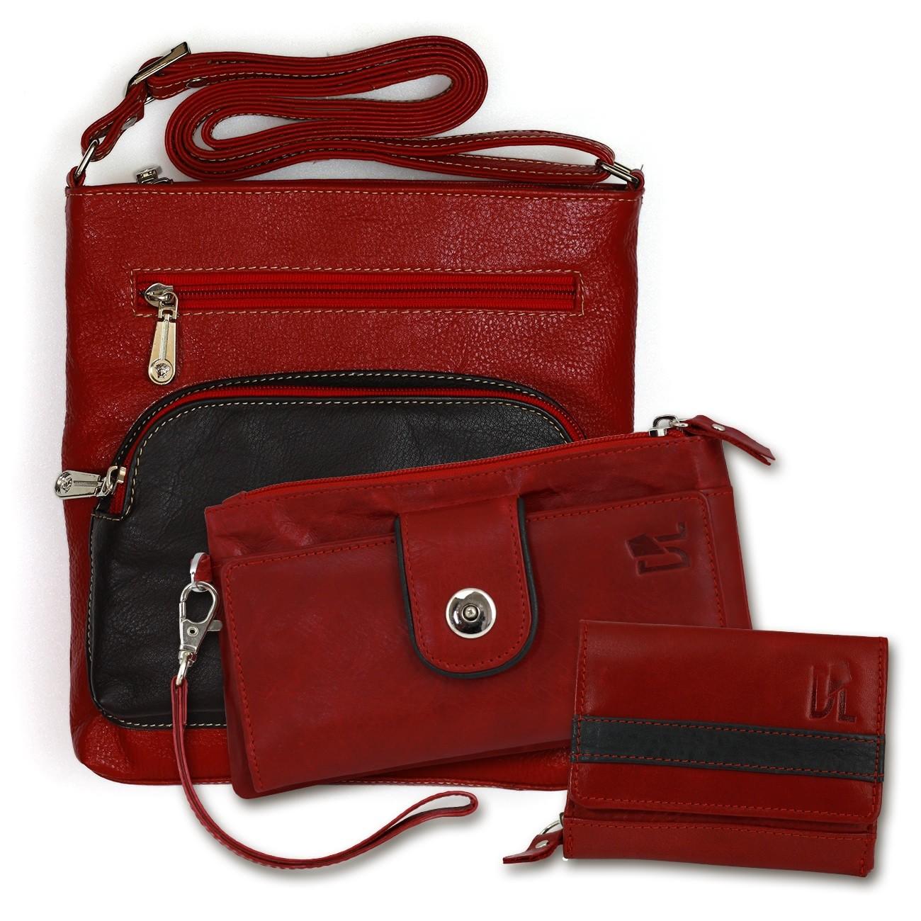 Umhängetasche + Geldbörse + Wristlet Set Leder rot Geschenkset 3tlg. OSZ101R