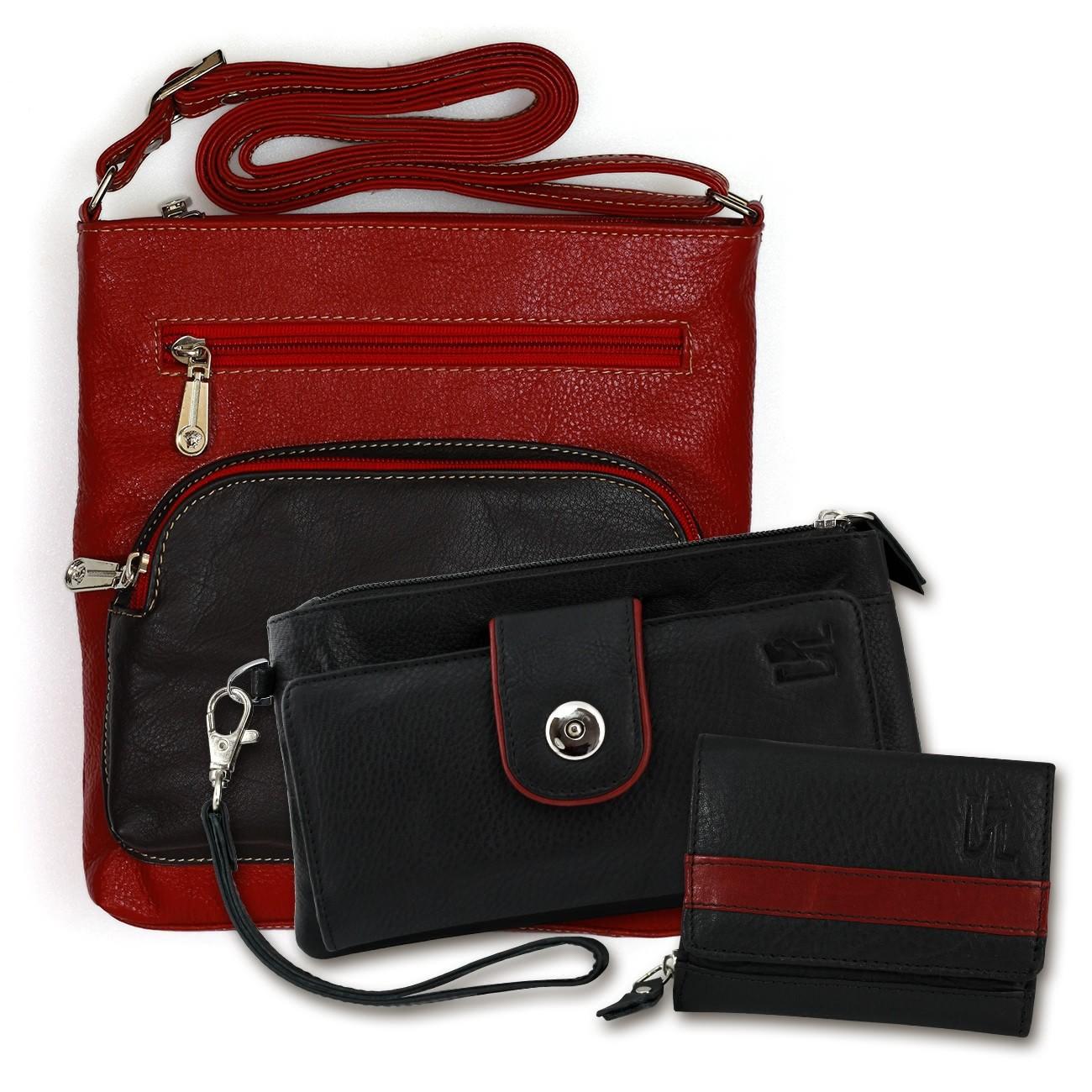 Umhängetasche + Geldbörse + Wristlet Set Leder schwarz Geschenkset 3tlg. OSZ101S