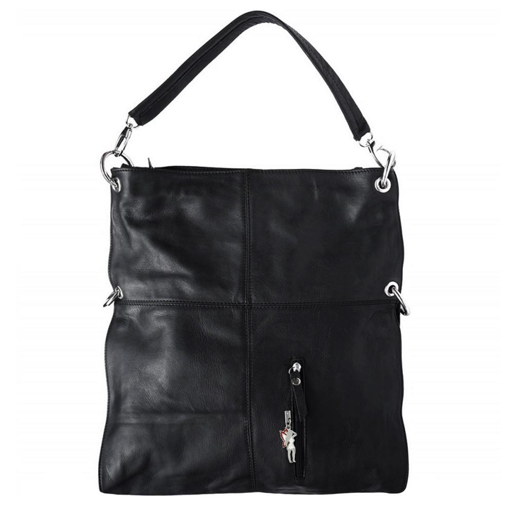 Hobo Bag Umhängetasche Leder schwarz Damen Schultertasche DrachenLeder OTF102S