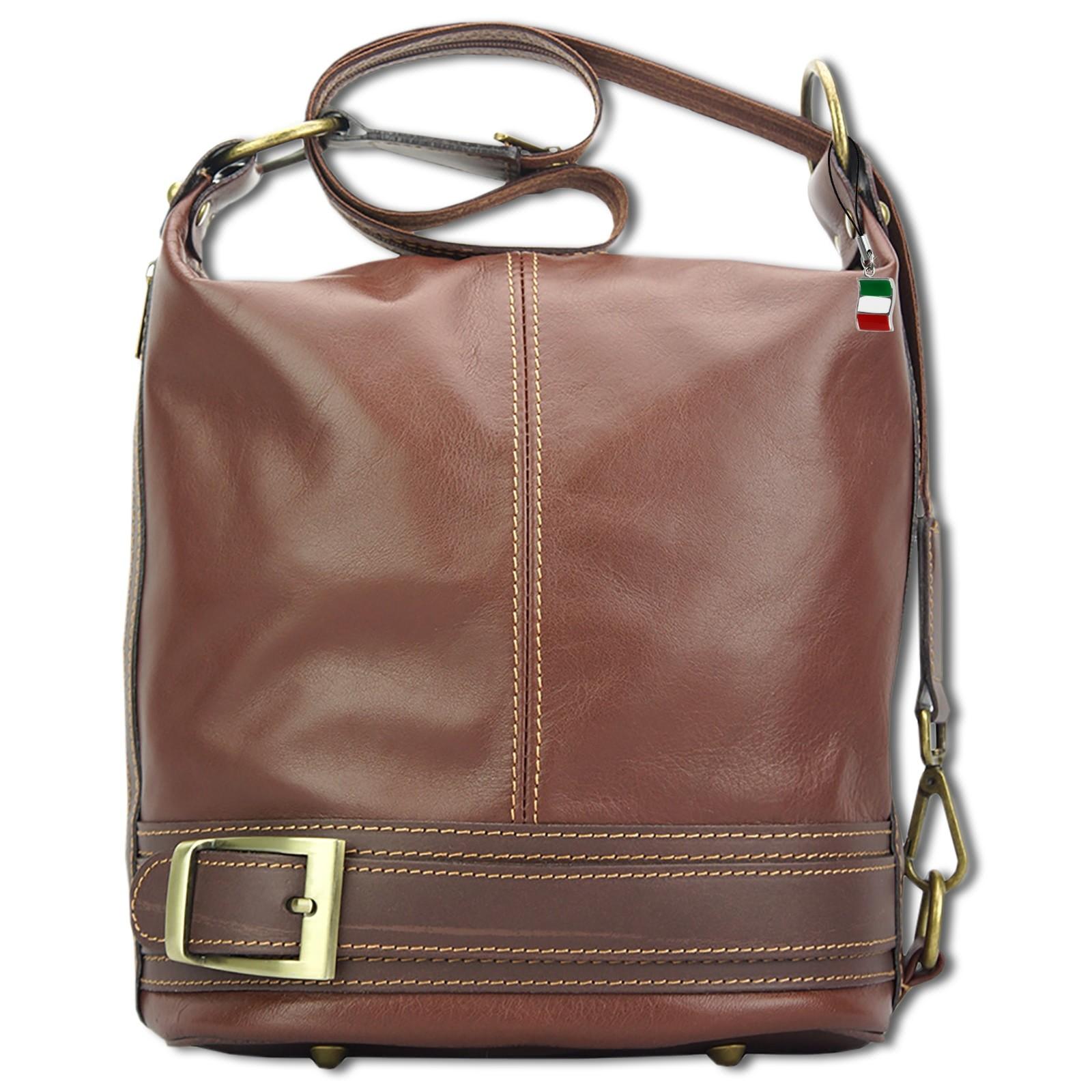 Schultertasche, Rucksack wandelbare Damen Handtasche Leder braun OTF104N