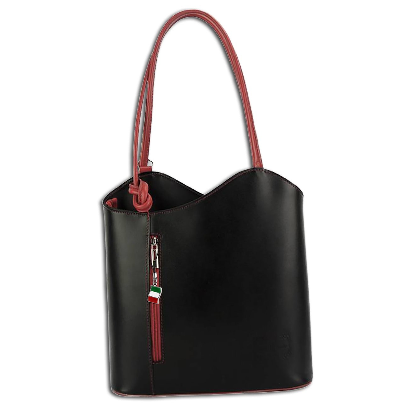 Schultertasche, Rucksack Leder schwarz Handtasche wandelbar DrachenLeder OTF106S