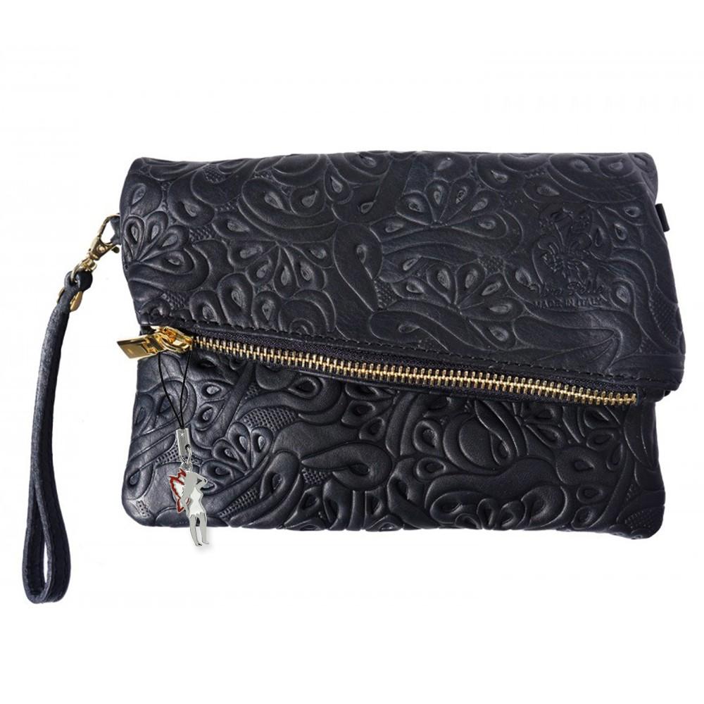 Clutch Abendtasche, Wristlet Leder schwarz Umhängetasche DrachenLeder OTF800S