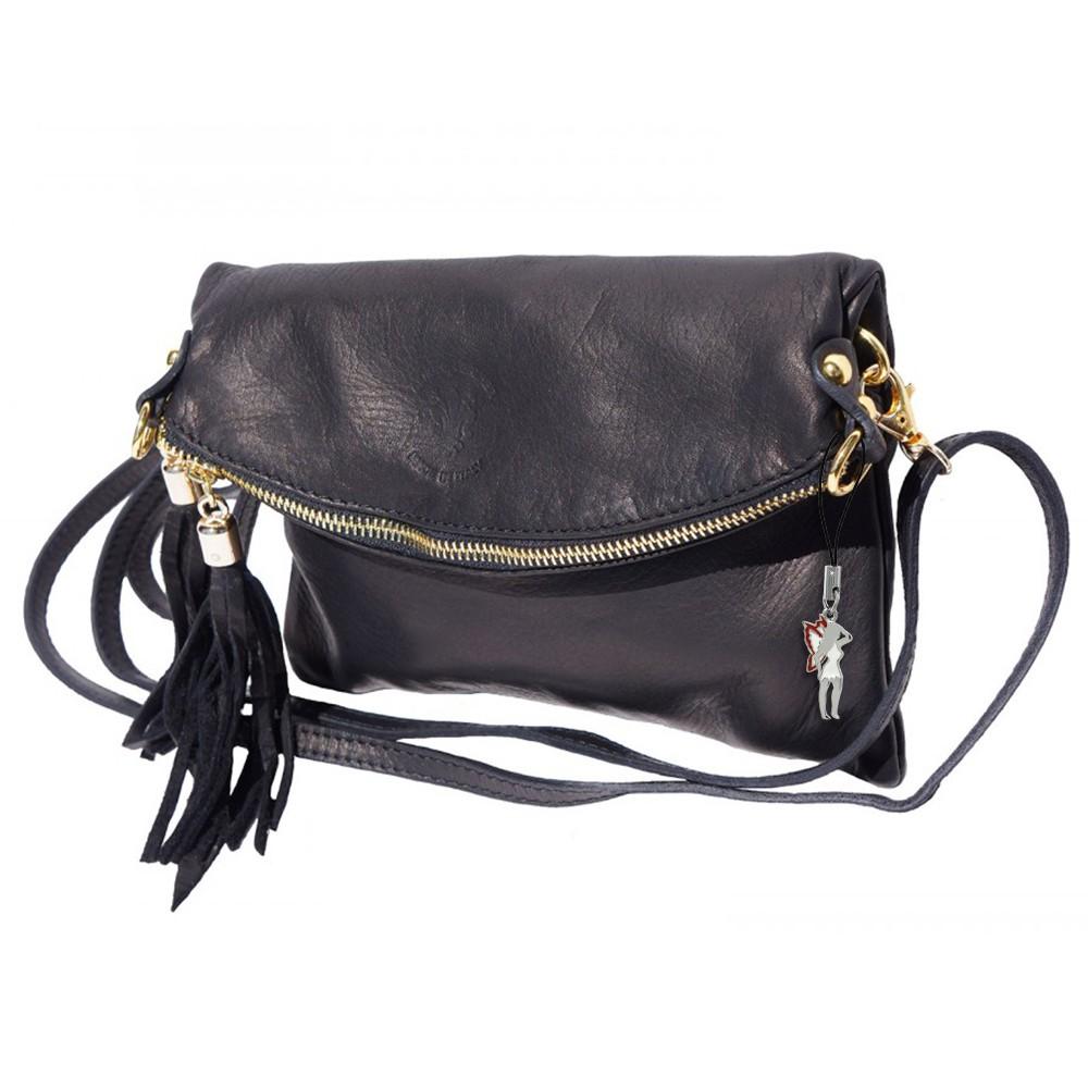 Umhängetasche Clutch Damen Tasche Wristlet Leder schwarz DrachenLeder OTF802S
