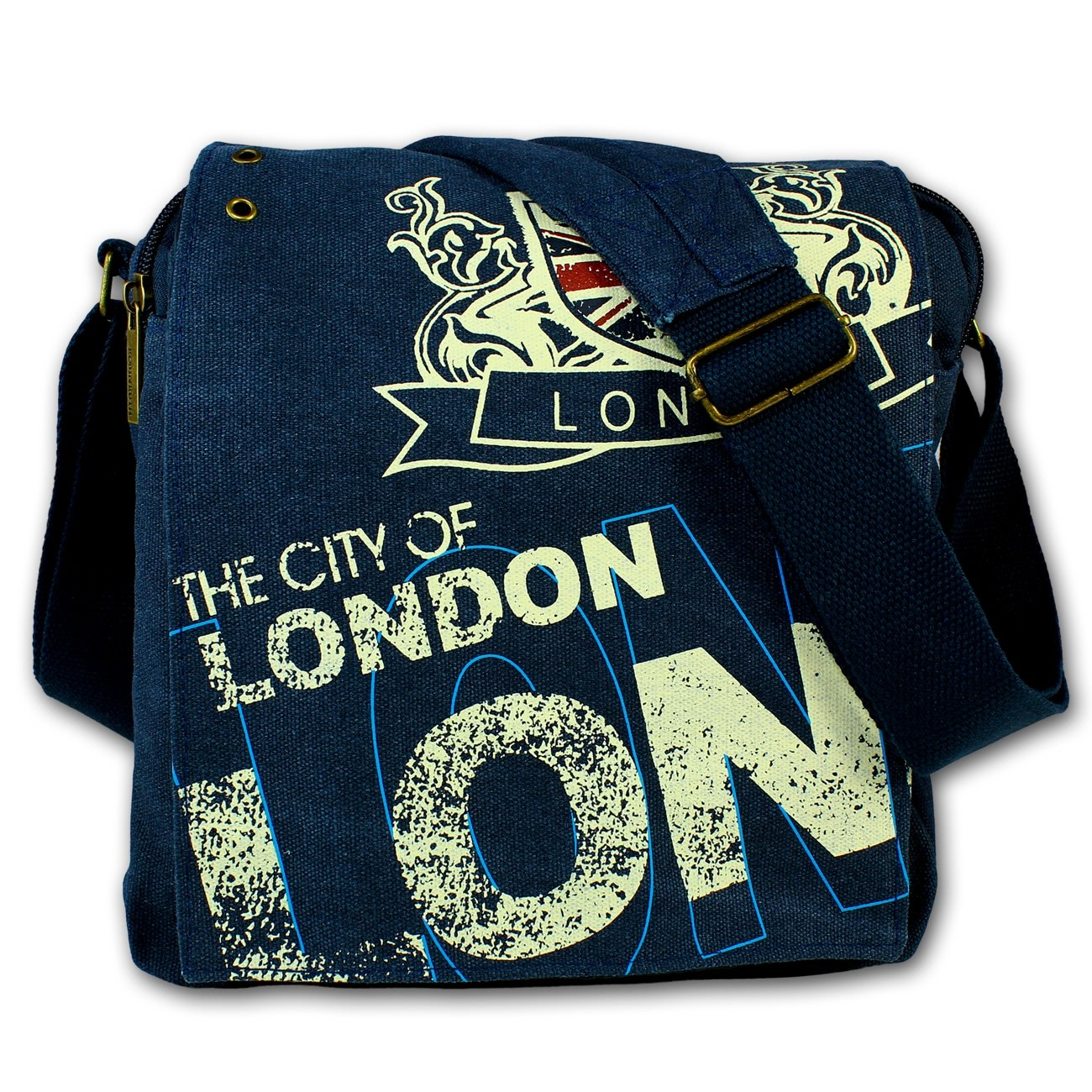 Umhängetasche Canvas navyblau Schultertasche Wappen LONDON Robin-Ruth OTG202B